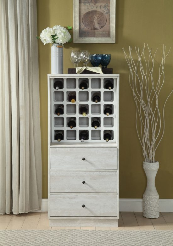 Wooden Wine Cabinet with Wine Bottle Rack and Three Drawers
