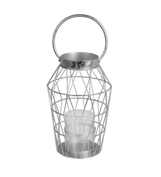Geometric Design Metal Candle Holder with Glass Hurricane