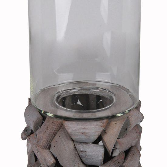 Quaint Style Wood and Glass Candleholder