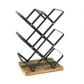 Industrial Style Criss Cross Wine Rack with Wooden Base