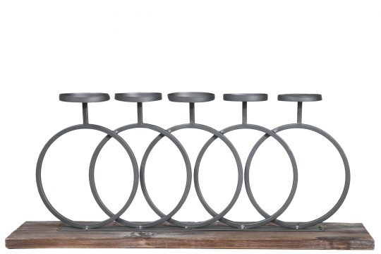 Wood and Metal Candle Holder with Interlocking 5 Rings