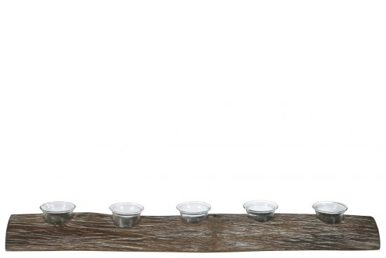 Wooden Branch Candle Holder with 5 Glass Hurricanes