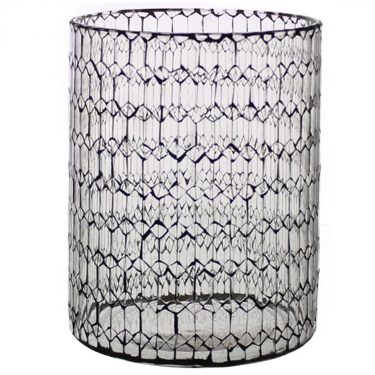 Modern Style Glass Hurricane with Honeycomb Patterned Design