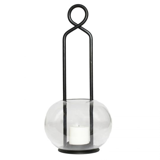 Modern Styled Metal Lamp with Top Loop and Bubble Glass Hurricane