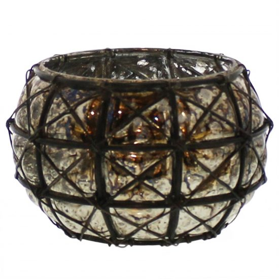 Glass Hurricane Lamp with Metal Designed Exterior Support