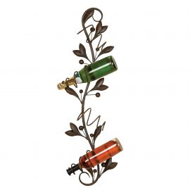 Metal Wall Wine Bottle Holder with 4 Slots and Leaf Accents