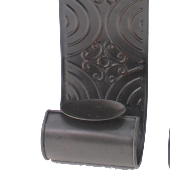 Metal Sconce Candle Holder with Embossed Intricate Carvings
