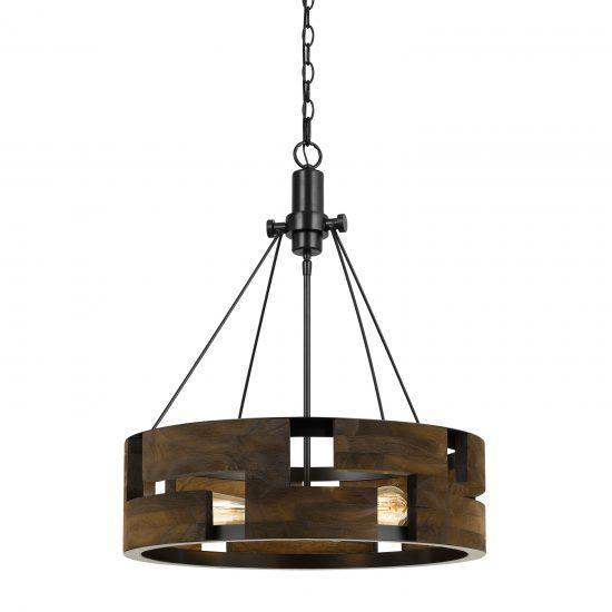 60 X 3 Watt Wood and Metal Frame Round Chandelier