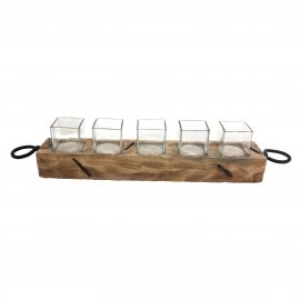 Wooden Votive Candle Holder with Five Glasses