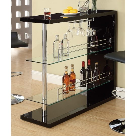 Enticing Rectangular Bar Unit with 2 Shelves and Wine Holder