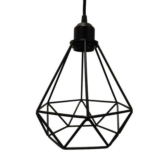 Polygon Diamond Shaped Wire Pendant Light With Black Top