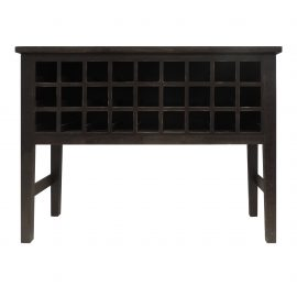 Rectangular Wooden Wine Cabinet with Multiple Storage Slots