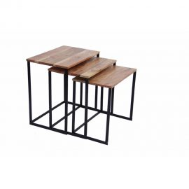Wooden Nesting Coffee End Tables With Metal Base